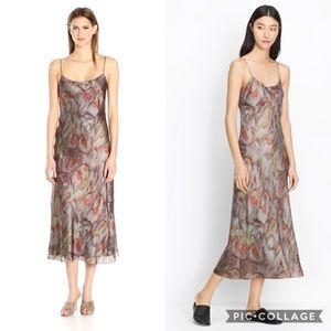 Vince Watercolor Printed Slip Dress in Fig